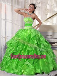 Sexy Lime Green Quince Dress Strapless Organza with Applique and Ruffles