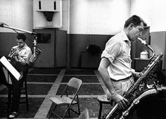 Chet Baker & Bud Shank, Los Angeles record session 1954 • Photographed by Bob Willoughby