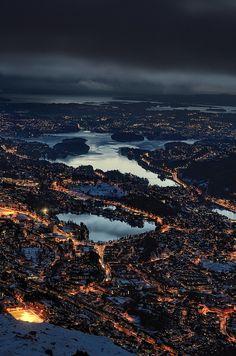 Bergen from the top of Mt. Ulriken
