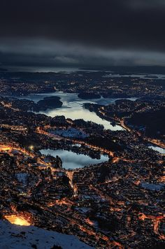 View of Bergen, Norway from Mount Ulriken by Arne Halvorsen. It looks like Mordor.