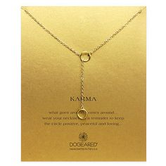 "Dogeared Karma Double Circle Lariat Gold Dipped 20"" Boxed Necklace - http://designerjewelrygalleria.com/dogeared/dogeared-karma-double-circle-lariat-gold-dipped-20-boxed-necklace/"