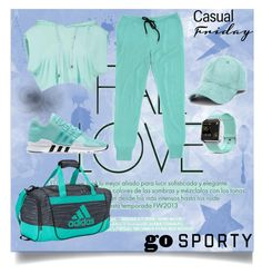 """""""Go Sporty"""" by tekiii on Polyvore featuring adidas, Fitbit and Markus Lupfer"""