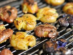 Grilled Smashed Potatoes with Rosemary = mouth is watering!