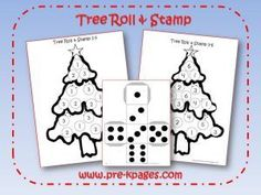 Math roll & stamp game decorate the tree via www.pre-kpages.com/xmas/
