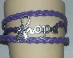 Alzheimers #awareness #ribbon,hope,leather charm #bracelet-purple-silver-#14,  View more on the LINK: 	http://www.zeppy.io/product/gb/2/251990065569/