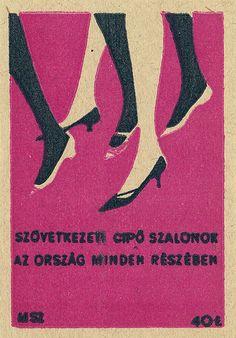 Vintage matchbox label. Woman and shoes.