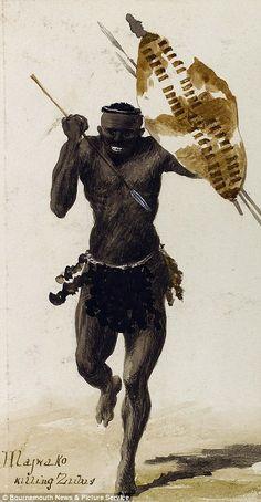 William Whitelock Lloyd .. Charging Zulu Warrior                                                                                                                                                                                 More