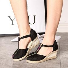 787e1ce1483a Veowalk Vintage Embroidered Women Sandals Casual Linen Canvas Wedge Sandals  Summer Ankle Strap Med Heel Platform Pump Shoes