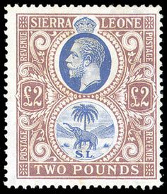 Sierra Leone, King George V, blue & dull purple SG Scott Multiple Script CA watermark Postage Stamp Art, King George, Sierra Leone, Stamp Collecting, Colonial, Script, Purple, Blue, Favorite Things