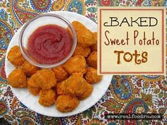 Gluten Free Baked Sweet Potato Tots. Healthy and easy snack or dinner. Kids love these! You can even make a double batch and freeze them for a quick weeknight meal.