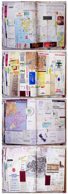 Ideas and inspiration for keeping a travel journal, art journaling, and scrapbook. : Ideas and inspiration for keeping a travel journal, art journaling, and scrapbook. Album Journal, Scrapbook Journal, Travel Scrapbook, Journal Pages, Junk Journal, Journal Art, Art Journals, Travel Journals, Travel Books