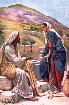 the Samaritan woman at the well.with Jesus Christ Pictures Of Jesus Christ, Religious Pictures, Bible Pictures, Catholic Art, Religious Art, Image Jesus, Bible Illustrations, Christian Pictures, Jesus Painting