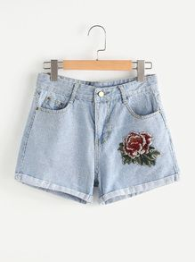 Image result for jean shorts with one flower patch