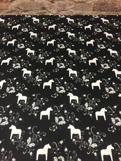 Tablecloth black with white Swedish Dala Horses, Scandinavian design, tablecloth Scandinavian, Dala horses,Black and white, great gift by SiKriDream on Etsy