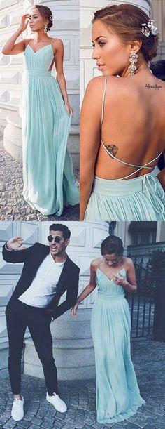 Spaghetti Straps Prom Dress,Blue Evening Dress,Pleated Prom Dress,Column Prom Dress,Evening Dress Backless,Prom Dress with Split,Chiffon Evening Dress,Prom Dress for Woman