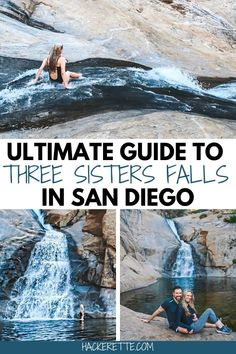 Waterfalls in San Diego? Three Sisters Falls trail is one of the best waterfall hikes in San Diego county. There's even a water slide made by nature! San Diego Day Trip, San Diego Hiking, San Diego Vacation, San Diego Travel, Places To Travel, Places To Go, Travel Destinations, Waterfall Hikes, Three Sisters