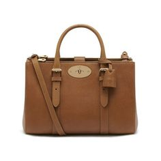 Small Bayswater Double Zip Tote in Oak Natural Leather | Family | Mulberry