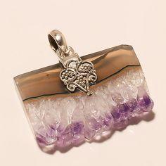 925 Sterling Silver Purple Amethyst Slice Rough Gemstone Fashion Jewelry Pendant #Handmade #Designer #MothersDay