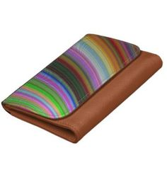 Bend Wallet $27.60 *** Colorful curved stripes *** bend - curved - spectrum - colorful - colors - stripes - curve - color design - concentric - arc - abstract - graphic - multicolor - digital - fractal - vector - space - sky - faux leather wallet