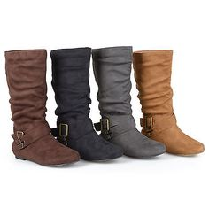 Journee Collection Womens Wide-Calf Buckle Slouch Mid-Calf Boot