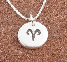 Aries Necklace,Organic Rustic Recycled Sterling Silver Zodiac Jewelry/FREE SHIPPING