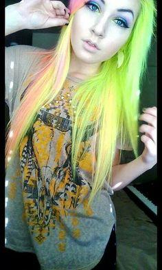 Green orange and yellow hair Emo Hair Color, Scene Hair Colors, Bright Hair Colors, Colorful Hair, Neon Green Hair, Neon Hair, Yellow Hair, Best Hair Dye, Dye My Hair