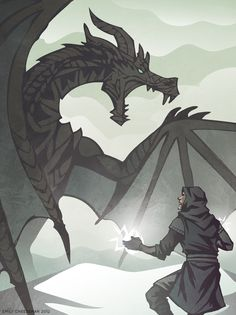 Skyrim fanart! Specifically, a dragon and my brother's Dragonborn yelling at each other on the top of a mountain. Adobe Illustrator.