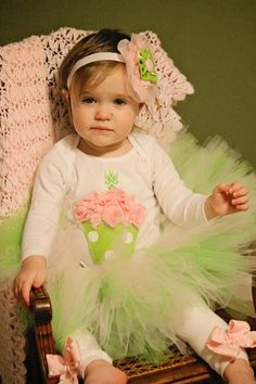 Pink and Green cupcake 1st Birthday tutu outfit by KateGraceRose, $50.00
