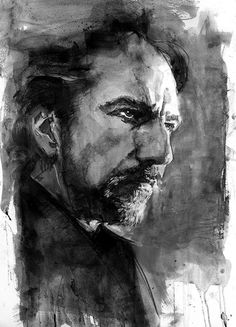 """greggorysshocktheater: """"Alan Sidney Patrick Rickman (February 21 1946 – January 14 portrait by Bill Sienkiewicz """"Actors are agents of change. A film, a piece of theater, a piece of music, or a. Rare Comic Books, Comic Books Art, Comic Art, Hans Gruber, Severus Rogue, Alan Rickman Severus Snape, Ares, Wow Art, Marvel Comics"""