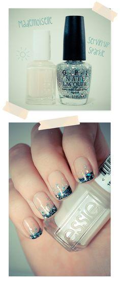 DIY :: Black French Glitter Gradient :: Essie Mademoiselle, black tips & OPI Servin' Up Sparkle   #pshiiiit #frenchmanicure #glittergradient #nailtips