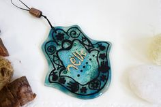 Jewish Judaica Home Blessing  Hamsa Turquoise with by virtulyglass