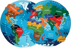 Map of the World Jigsaw Puzzle -- Introductory Geography for Kids