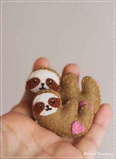 Cute handmade family of sloth brooches