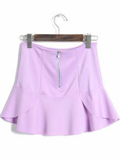 Purple High Waist Zipper Ruffle Skirt - Sheinside.com