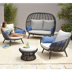 Buy Cocoon 4 Piece Sofa Set from our Garden Furniture range today from George at ASDA. Rooftop Terrace Design, Patio Design, Garden Design, Garden Sofa Set, Garden Chairs, Pool Furniture, Outdoor Furniture Sets, Bistro Patio Set, Conservatory Furniture