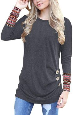 online shopping for YAOYUE US Womens Long Sleeve Casual Round Neck Loose Tunic Top Blouse T-Shirt Knitted Blends from top store. See new offer for YAOYUE US Womens Long Sleeve Casual Round Neck Loose Tunic Top Blouse T-Shirt Knitted Blends Tunic Shirt, Shirt Blouses, Tee Shirts, Button Shirts, Business Outfit Frau, Autumn T Shirts, Autumn Tops, Winter Mode, Fall Winter