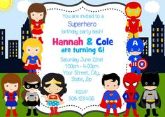 Boy and Girl Superheroes Twins/Joint Party por SandInMyShoesDesigns
