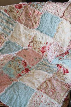 Crib Rag Quilt Baby Girl Crib Bedding Shabby Chic by justluved, $109.00