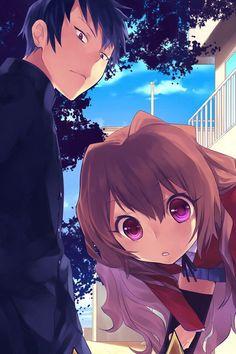 Anime/manga: Toradora Characters: Ryuuji and Taiga, Ryuuji looks like Aomine in Kuroko No Basuke.
