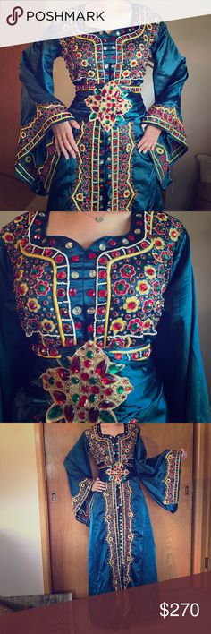 Palestinian Abaya Blue silky Palestinian dress that was hand made in India. Decorated with stones and pearls. Dresses Maxi
