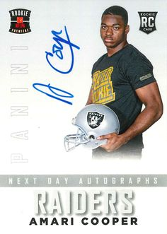 "Amari Cooper of Alabama selected by the Raiders with the #4 pick in the 2015 NFL Draft Panini America's iconic ""Rated Rookie"" football card. #Alabama #RollTide #BuiltByBama #Bama #BamaNation #CrimsonTide #RTR #Tide #RammerJammer"