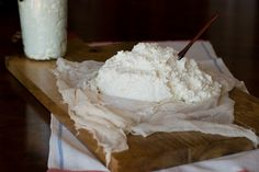 Homemade Buttermilk Ricotta. 1 gallon  = 3.8 L and a quart = 1 L. I'll leave out the cream.