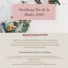 Give Away Día de la Madre 2020 ¡Ganar es muy sencillo!  1. Sigue a las 5 cuentas oficiales de las marcas participantes. @sophia.linn.co  @arkitud  @perlacoralbga  @makepizza.co  @macarose_oficial  2. Dale Like a la publicación del GiveAway en cada cuenta. 3. Etiqueta a 3 personas (no marcas) en la publicación de alguna de las marcas participantes. ¡Participa del 27 de Abril al 7 de Mayo!  ______________________ *Entre más comentes en varias de las marcas participantes, más posibilidades… Movie Posters, Movies, April 27, Bead, Simple, One Day, Branding, People, Film Poster