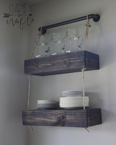 Industrial PVC Pipe and Rope Floating Shelves