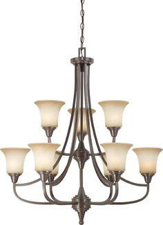Antique Bronze Chandelier > $459.99 Beige Glass Shades, Nine Lights - http://chandeliertop.com/antique-bronze-chandelier-459-99-beige-glass-shades-nine-lights/