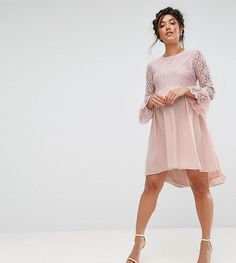 Queen Bee Lace Hi Lo Smock Dress With Ruffle Sleeve - Pink