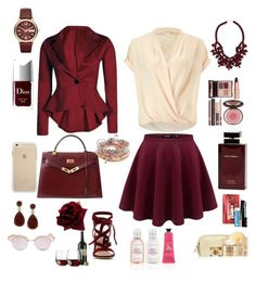 """""""Red, Red Wine"""" by teresalcaine on Polyvore featuring Miss Selfridge, Gianvito Rossi, Hermès, Ek Thongprasert, Marc by Marc Jacobs, Aéropostale, Charlotte Tilbury, Christian Dior, Dolce & Gabbana Fragrance and Lancôme"""