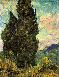 Two Cypresses - Vincent van Gogh - WikiPaintings.org