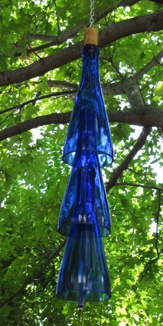 Wine Bottle Wind Chimes in Cobalt Blue. $15.00, via Etsy.