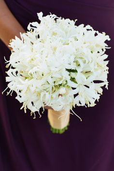 White wedding bouquet filled with nerines {Photo by Jonathan Young Weddings via Project Wedding}